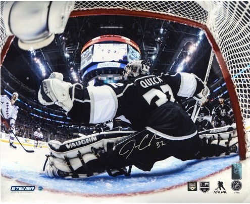 """Los Angeles Kings Jonathan Quick 2014 Stanley Cup Net Save Metallic Signed 16"""" x 20"""" Photo"""