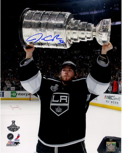 """Los Angeles Kings Jonathan Quick Holding Stanley Cup Trophy Signed 16"""" x 20"""" Photo"""