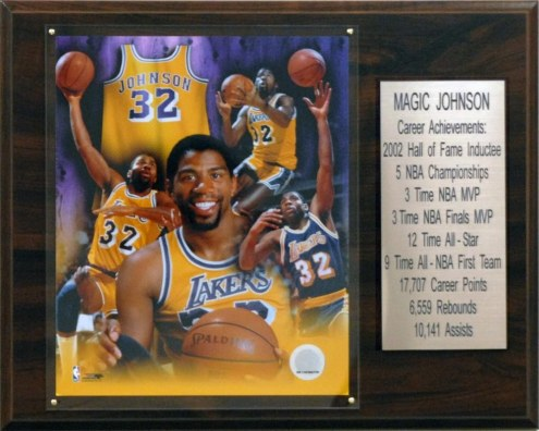 "Los Angeles Lakers 12"" x 15"" Magic Johnson Career Stat Plaque"