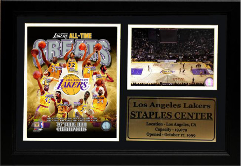 "Los Angeles Lakers 12"" x 18"" Greats Photo Stat Frame"