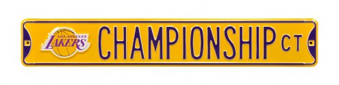 Los Angeles Lakers Championship Street Sign