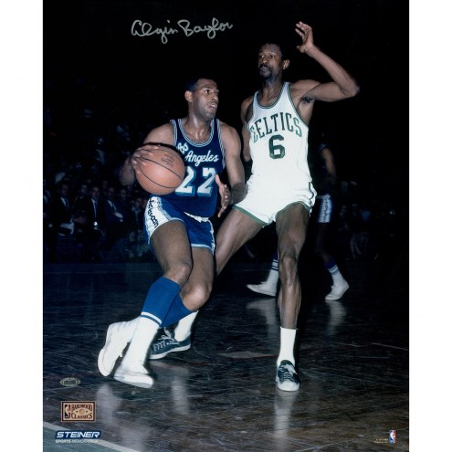 "Los Angeles Lakers Elgin Baylor vs. Bill Russell Signed 16"" x 20"" Photo"