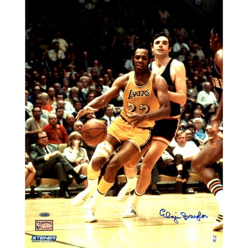 "Los Angeles Lakers Elgin Baylor vs. Knicks Metallic Signed 16"" x 20"" Photo"
