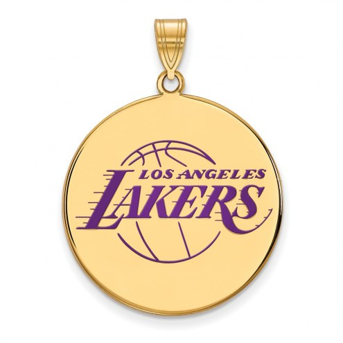 Los Angeles Lakers Sterling Silver Gold Plated Extra Large Enameled Disc Pendant