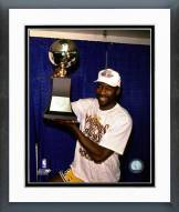 Los Angeles Lakers James Worthy with NBA Championship Trophy Framed Photo