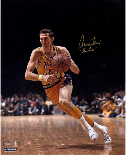 """Los Angeles Lakers Jerry West 1970 Finals w/ """" The Logo"""" Signed 16"""" x 20"""" Photo"""
