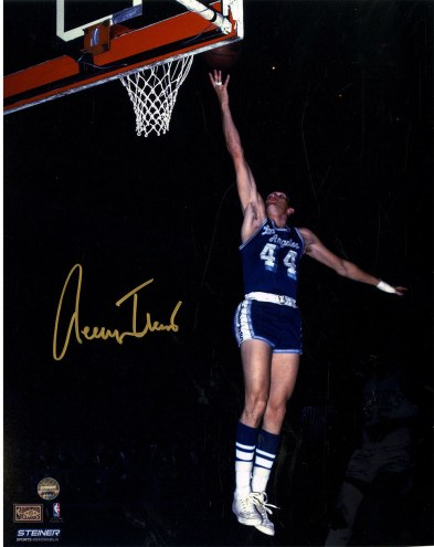 """Los Angeles Lakers Jerry West Blue Jersey Signed 16"""" x 20"""" Photo"""