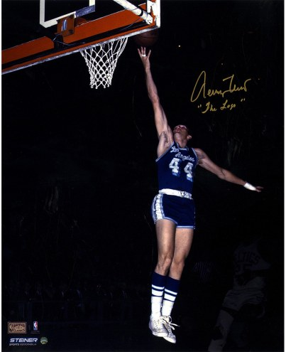 """Los Angeles Lakers Jerry West Blue Jersey w/ """"The Logo"""" Signed 16"""" x 20"""" Photo"""