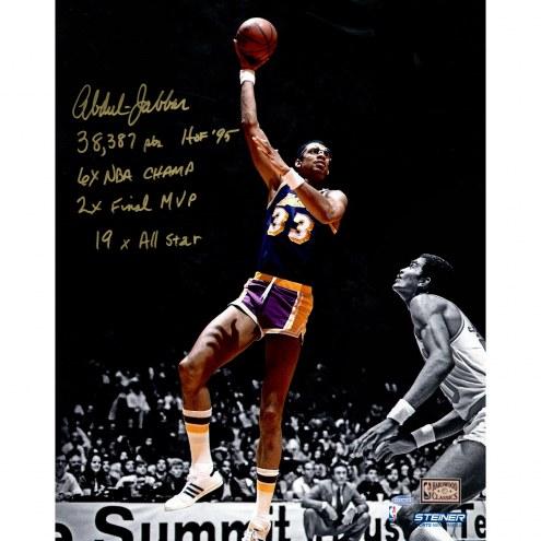 "Los Angeles Lakers Kareem Abdul Jabbar Metallic Paper w/ Career Stats Signed 16"" x 20"" Photo"