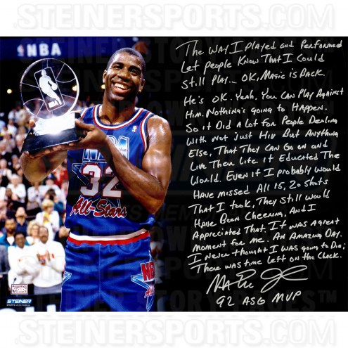 """Los Angeles Lakers Magic Johnson 1992 All Star Game Story Signed 16"""" x 20"""" Photo"""