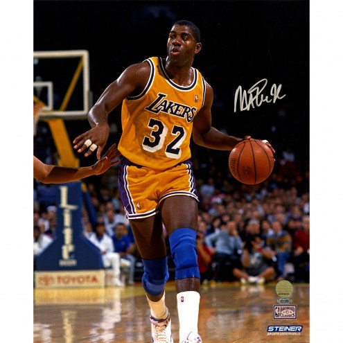 "Los Angeles Lakers Magic Johnson Dribbling Up Court Signed 16"" x 20"" Photo"