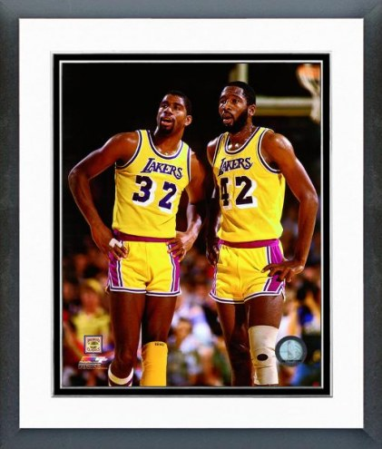 Los Angeles Lakers Magic Johnson & James Worthy 1990 Action Framed Photo