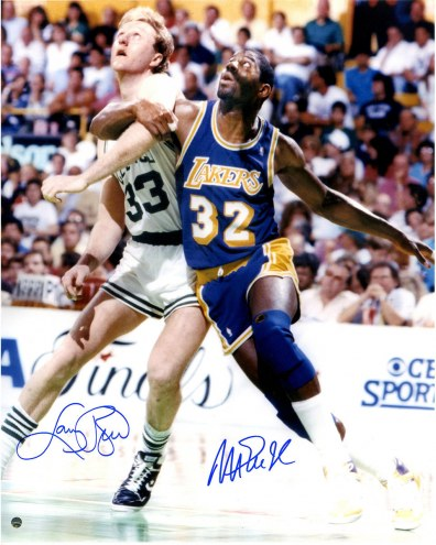 "Los Angeles Lakers Magic Johnson & Larry Bird Posting Up Signed 16"" x 20"" Photo"