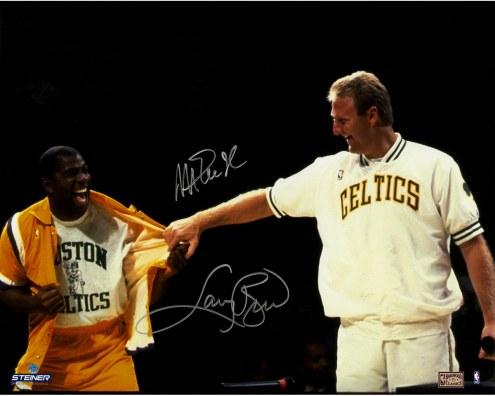 "Los Angeles Lakers Magic Johnson/Larry Bird 'Pulling Warm Up at Retirement Night' Signed 16"" x 20"" Photo"