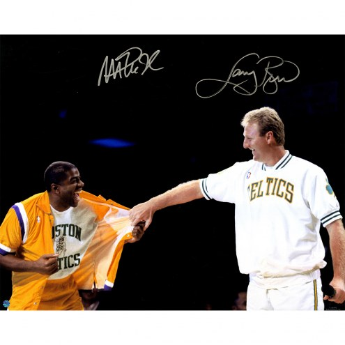 "Los Angeles Lakers Magic Johnson & Larry Bird Retirement Signed 16"" x 20"" Photo"