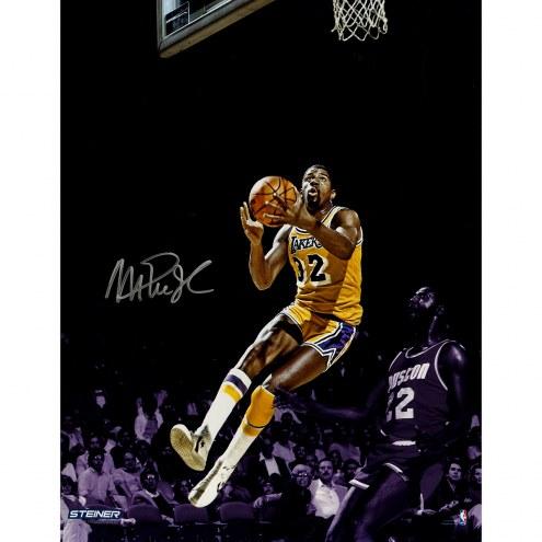 "Los Angeles Lakers Magic Johnson Layup Metallic Signed 16"" x 20"" Photo"