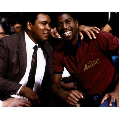 "Los Angeles Lakers Magic Johnson Sitting With Ali Signed 16"" x 20"" Photo"
