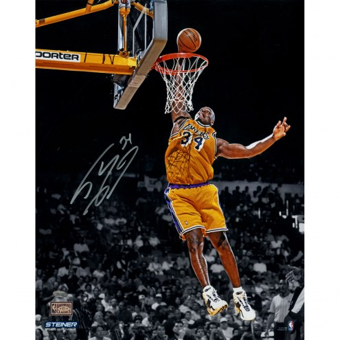 "Los Angeles Lakers Shaquille O'Neal Dunk in Gold Signed 16"" x 20"" Photo"