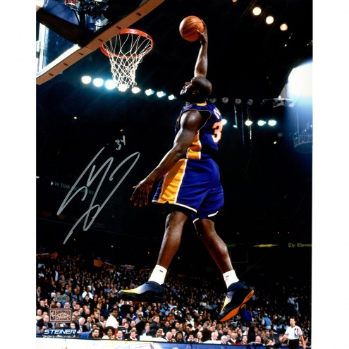 "Los Angeles Lakers Shaquille O'Neal Dunk in Purple Signed 16"" x 20"" Photo"