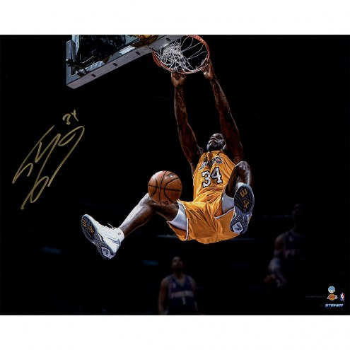 "Los Angeles Lakers Shaquille O'Neal Dunk Metallic Signed 16"" x 20"" Photo"