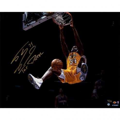 "Los Angeles Lakers Shaquille O'Neal Dunk Metallic w/ ""The Diesel"" Signed 16"" x 20"" Photo"