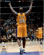 Los Angeles Lakers Shaquille O'Neal Signed Arms Up in Gold Uniform 16 x 20
