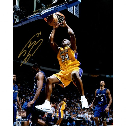 """Los Angeles Lakers Shaquille O'Neal Yellow Jersey Dunk Signed 16"""" x 20"""" Photo"""