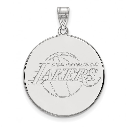 Los Angeles Lakers Sterling Silver Extra Large Disc Pendant
