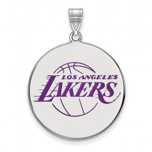 Los Angeles Lakers Sterling Silver Extra Large Enameled Disc Pendant
