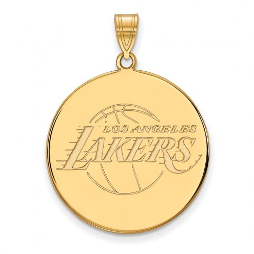 Los Angeles Lakers Sterling Silver Gold Plated Extra Large Disc Pendant