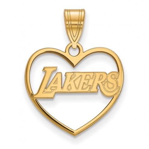 Los Angeles Lakers Sterling Silver Gold Plated Heart Pendant