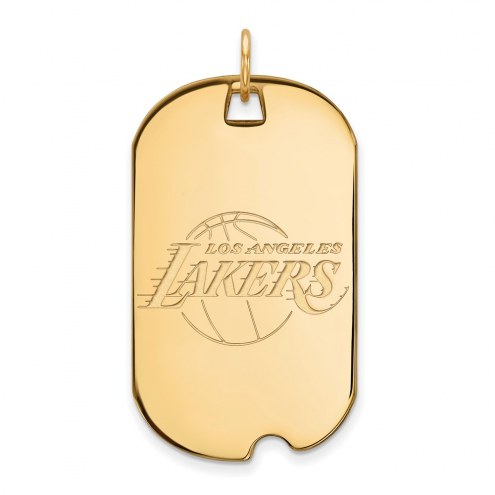 Los Angeles Lakers Sterling Silver Gold Plated Large Dog Tag