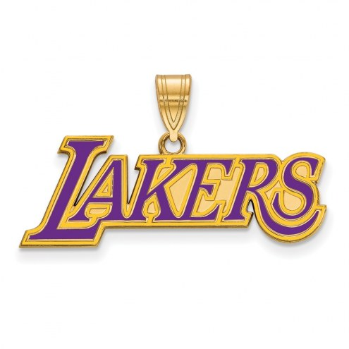 Los Angeles Lakers Sterling Silver Gold Plated Large Enameled Pendant
