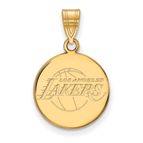 Los Angeles Lakers Sterling Silver Gold Plated Medium Disc Pendant