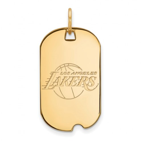 Los Angeles Lakers Sterling Silver Gold Plated Small Dog Tag
