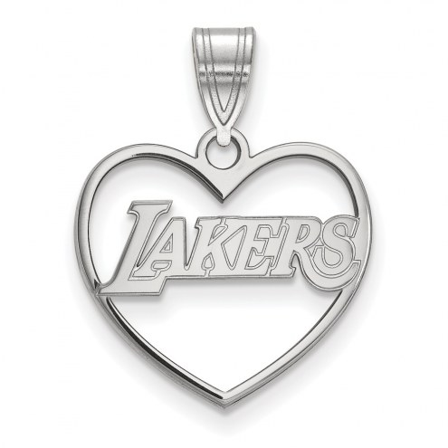 Los Angeles Lakers Sterling Silver Heart Pendant