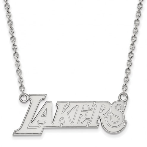 Los Angeles Lakers Sterling Silver Large Pendant Necklace