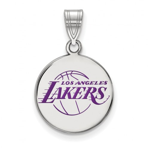 Los Angeles Lakers Sterling Silver Medium Enameled Disc Pendant