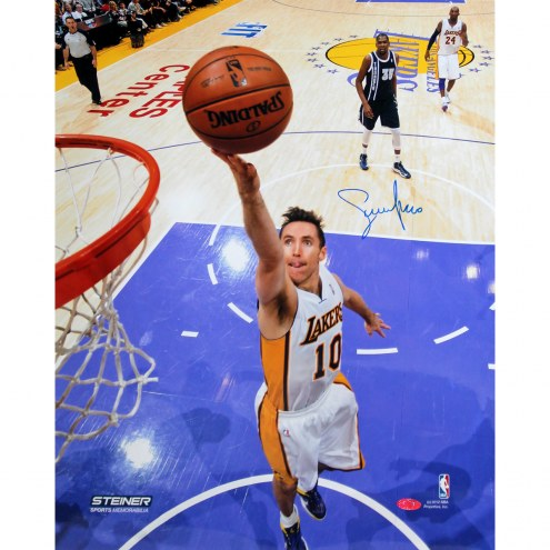 "Los Angeles Lakers Steve Nash Layup Against OKC Signed 16"" x 20"" Photo"