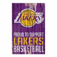 Los Angeles Lakers Proud to Support Wood Sign