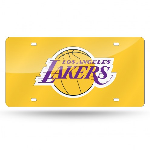 Los Angeles Lakers Yellow Laser Cut License Plate