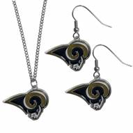 Los Angeles Rams Dangle Earrings & Chain Necklace Set