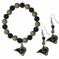 Los Angeles Rams Fan Bead Earrings & Bracelet Set