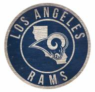 Los Angeles Rams Round State Wood Sign