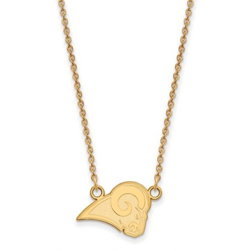 Los Angeles Rams Sterling Silver Gold Plated Small Pendant with Necklace
