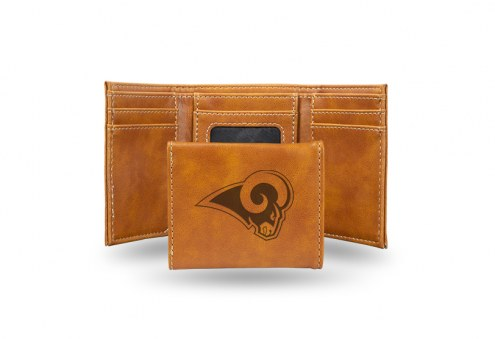 Los Angeles Rams Laser Engraved Brown Trifold Wallet