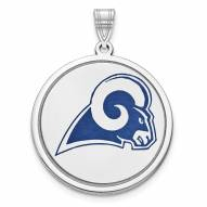 Los Angeles Rams Sterling Silver Disc Pendant