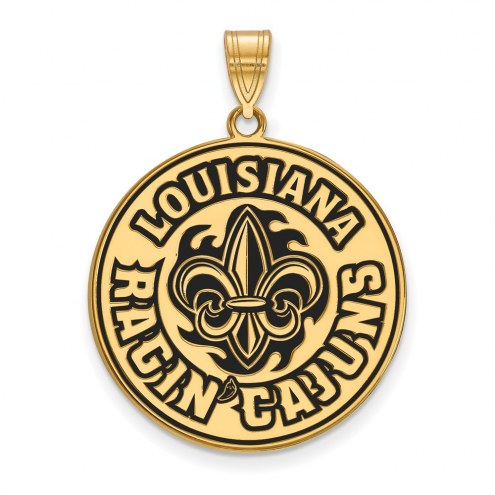 Louisiana Lafayette Ragin' Cajuns Sterling Silver Gold Plated Extra Large Enameled Pendant