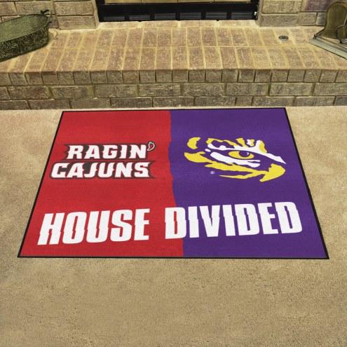 Louisiana Lafayette/LSU Tigers House Divided Mat
