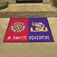 Louisiana Lafayette/LSU Tigers House Divided Mat